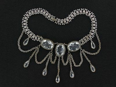 Vintage Victorian Revival Festoon Necklace with HUGE Clear Stones  (NK1965)