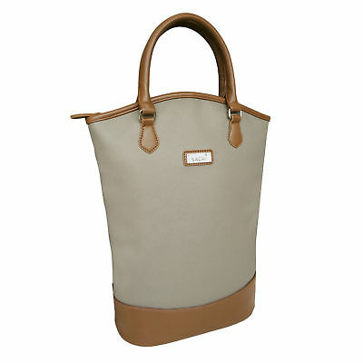 Sachi Two Wine Bottle Insulated Cooler Tote Bag - Taupe