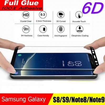 Samsung Galaxy S9 S8 Plus Note 8/9 Full Adhesive Glue Tempered Glass Protection