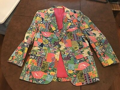 86f24abd1eb405 Lilly Pulitzer Mens Stuff Palm Beach Blazer Jacket Patchwork Vintage Rare  40/41?