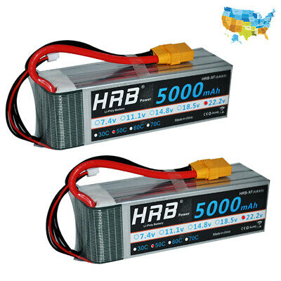 2pcs HRB 6S 22.2V 5000mAh LiPo Battery 50C 100C XT90 for RC Helicopter Drone Car