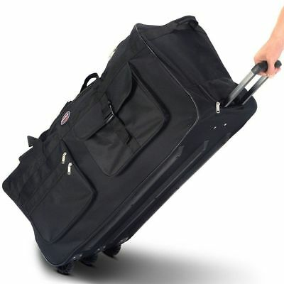 Large Rolling Wheels Tote Duffle Bag Travel Sports Suitcase Carry On Luggage Bla