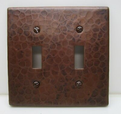 Hammered Copper Switch Plate Cover Double Toggle Arts & Crafts Mission