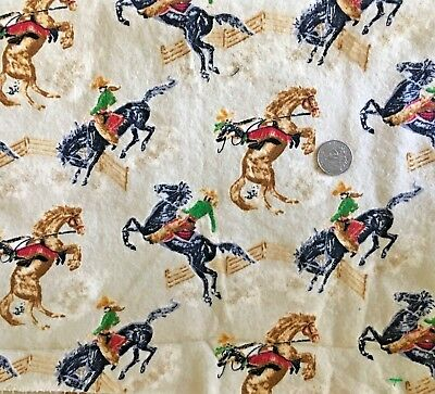 VINTAGE flannel COWBOY rodeo fabric horses western BUCKING BRONCO 1.27 yards