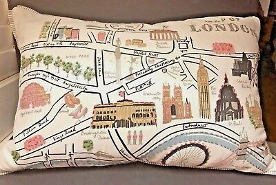 LONDON, England Pillow City Scene Embroidery with Cover, feathers Needlepoint