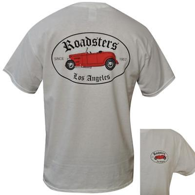 T Shirt Roadsters MENS WHITE ALL SIZES S TO 3XL Car Hot Rod Ford Vintage
