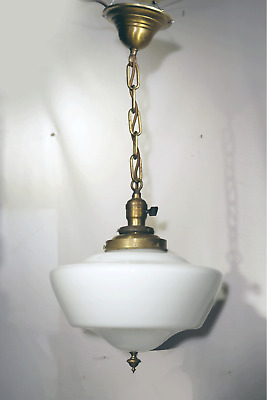 Vtg Antique School Light Fixture Chandelier Lamp Glass Art Deco Brass Ceiling