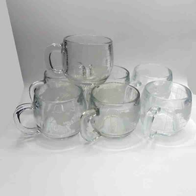 Large Lot 7 Vintage 1970's Nestle Nescafe Clear Glass Globe World Cup Mug Coffee