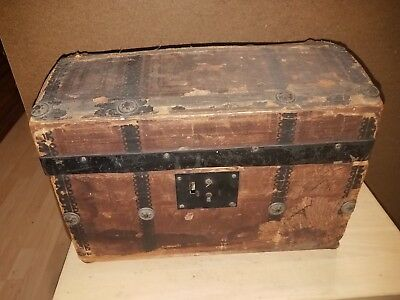 Antique Wooden Doll Trunk Dome Top Chest with Tray Original Interior Paper