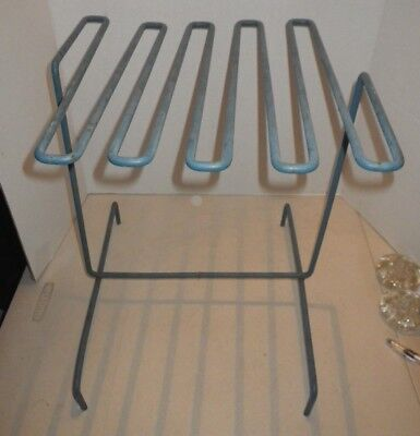 Mid Century Modern Blue Zig Zag Spring Coil Metal Table - Vintage - Atomic Retro