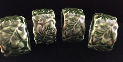 "4 Vintage IVY Leaf Pattern Napkin Holders Green Ceramic 2"" classic"