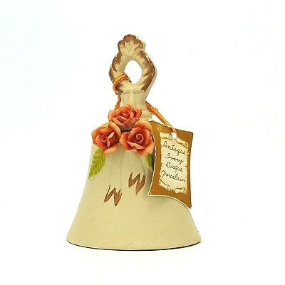 Flambro Bell Vintage Applied Roses  Floral Bisque Porcelain Ceramic Collectible