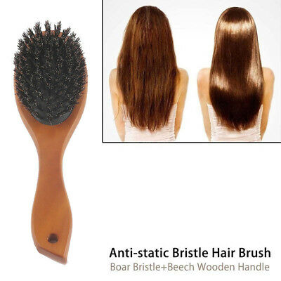 Natural Boar Bristle Hair Brush Comb Oval Anti-static Paddle Scalp Massage Gift
