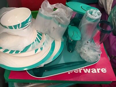 Tupperware Mahalo Serving Plate Glasses Tumblers Breeze Bundle Green Picnic New