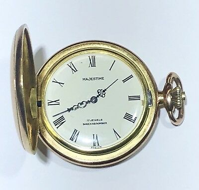 2a55d0c135e Nice Old Vintage Running Majestime 17 Jewel Incabloc Hunting Case Pocket  Watch