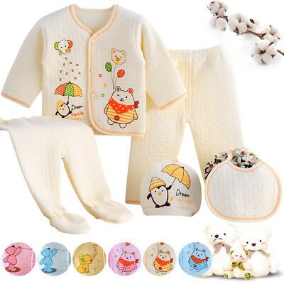 Newborn Infant Kid Baby Boy Girl T-shirt Tops Pants Outfits Clothes 5Pc Set 0-3M