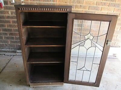 Vintage lead light glass pianola timber cabinet with original key