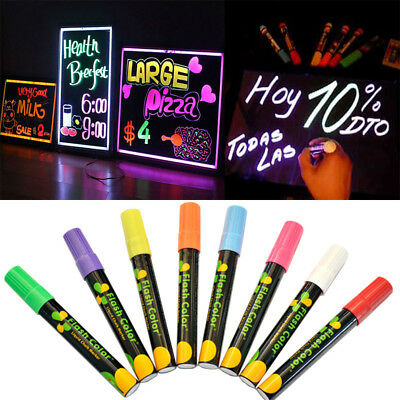 8 Colors 6mm Dual Nib Liquid Chalk Highlighter Fluorescent Neon Marker Pen Set