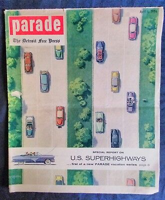 Vintage Parade Detroit Free Press U.S. Superhighways 1956 Vacation Series