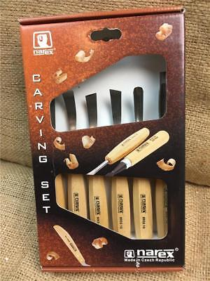 Clearance Line R33 Narex 894710 Wood Carving Chisel Set 6 Piece Beech Handles