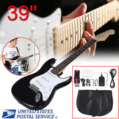 Full Size Electric Guitar Black with Amp Case& Accessories Pack Beginner Starter