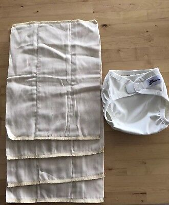 1 X Baby Beehinds Cloth Nappy Cover And 4 X Prefold Nappies