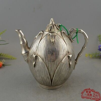 Chinese archaize antique hand make Brass silver plated Corn jug