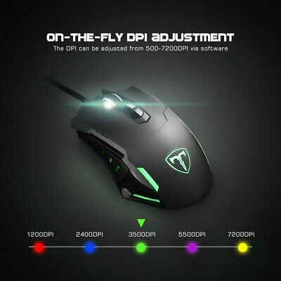 Professional 7200DPI Programmable Wired Gaming Mouse PC Desktop Computer Mice