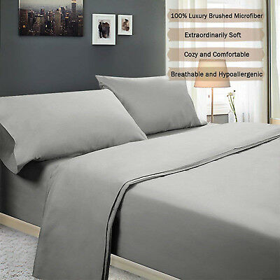 Queen/King Size 4pcs Bed Sheet+Fitted cover+Pillowcase Set Polyester Hotel Home
