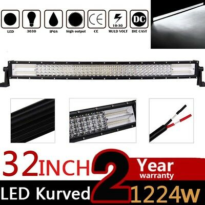 32'' INCH 1224W CURVED Quad ROW LED WORK LIGHT BAR FLOOD SPOT COMBO OFF-ROAD