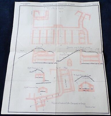 French Document Depicting Plans of Fortifications, 1901