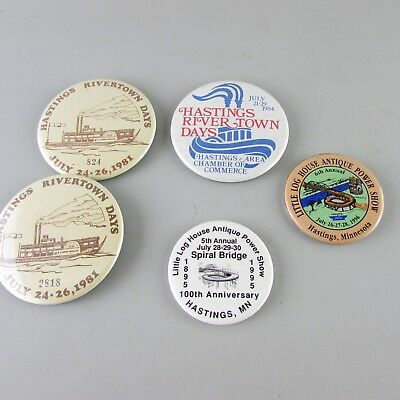 Lot of 5 Vintage Pin Back Metal buttons hastings Minnesota MN rivertown days