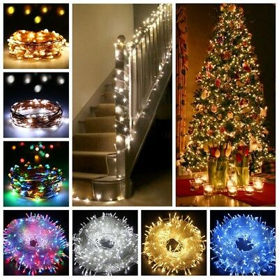 LED String Fairy Lights Micro Rice Wire Battery Solar Xmas Party Gift Lamp