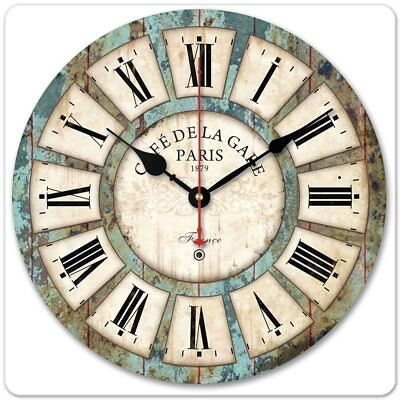 30CM Vintage Wooden Wall Clock Shabby Chic Rustic Kitchen Home Antique Decor UK