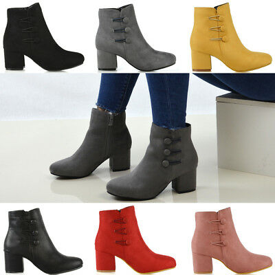 Womens Low Mid Block Heel Ankle Boots Ladies Zip Button Tie Smart Work Office