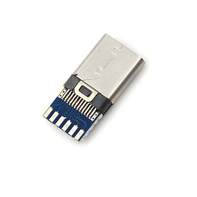 2pcs USB 3.1 Type C Male DIY Solder Cable Plug Socket Attached PC Board FO