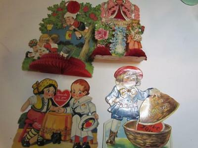 Lot of 4 Vintage German Valentine Cards Mechanical and Honeycomb