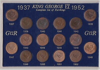 Cased Set Of 16 George Vi Wren Farthings 1937 To 1952 In A High Grade