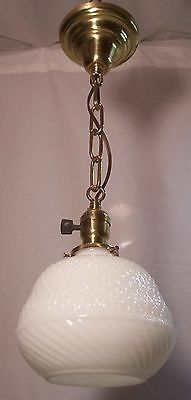 Vtg Antique Ceiling Light Fixture Pendant Brass Art Glass Shade Rewired USA #L55