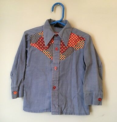 Vintage 1970s Stirups Toddlers Western Patchwork Button Up Shirt size 4