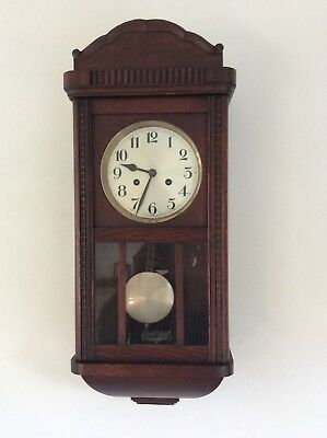 Vintage /antique Oak Cased 8 Day Chiming Wall Clock Wood Carved