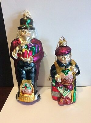 Rare Dept. 56 2-Sided Scrooge And Tiny Tim Poland Blown Glass Ornament 17792