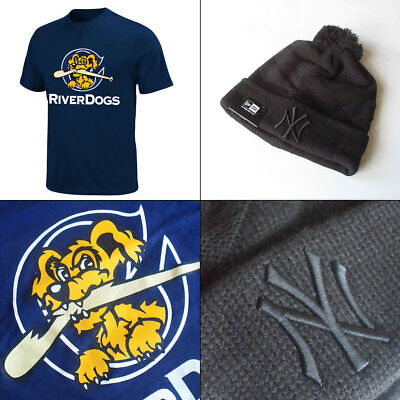 Charleston River Dogs YOUTH MiLB 2 Button T shirt + Yankees Knit Hat