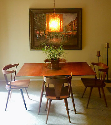 Mid Century Modern Paul McCobb Planner Group Table and T-style chair dining set.