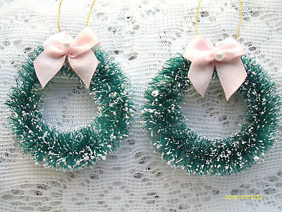 Green Christmas Wreath Tree Ornaments Mini Bottle Brush Dollhouse Sisal PINK Bow
