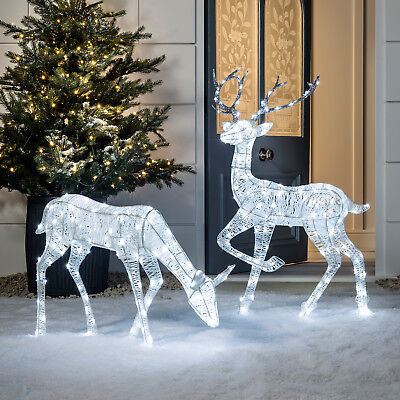 Glitter Christmas Figures Doe & Stag Duo White LEDs Outdoor Plug in Lights4fun