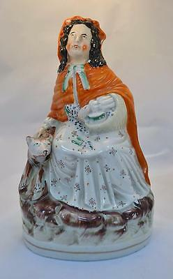 Staffordshire Figure Red Riding Hood and Wolf Victorian Large Unusual