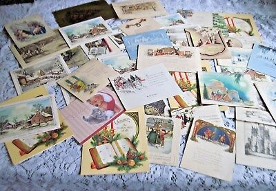 Great Lot of 45 Vintage Xmas Cards~Lovely Nostalgic Xmas Scenes and Greetings