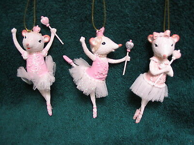 Ballerina Mice Set - Mouse in Leotard & Tutu Dancing Ballet - Scepter Crown NEW