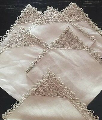 Set Of Six Vintage 50's Hand Embroidered Lace Irish Linen Napkins- Never Used!